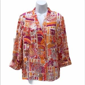 Ruby Rd colorful blouse size large